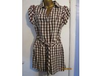 LONG CREAM BLOUSE WITH RED CHECK SIZE 12/14 SHORT SLEEVED AND BELTED