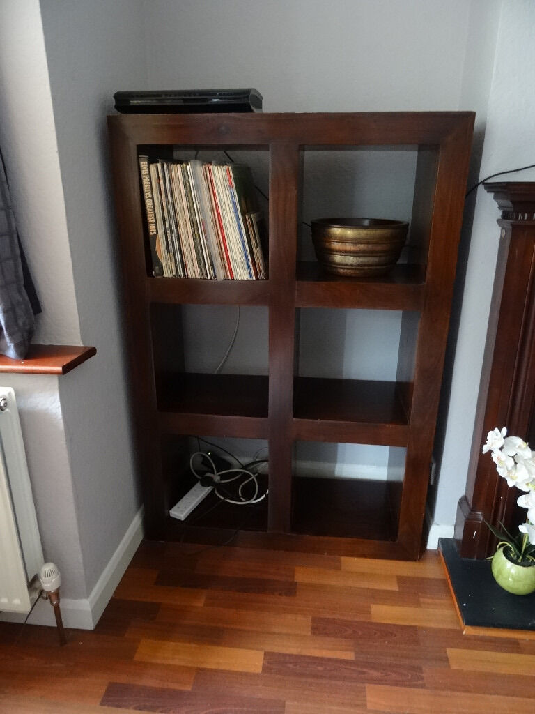 Mango Wood Bookcase Dark Wood Shelving Unit Cube Storage