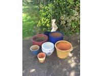 Various pots and garden ornaments