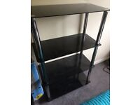 Black glass coffee table, small table and shelf unit