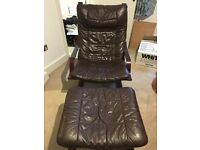 Great for Students. Leather chair with foot stool. Perfect for watching TV or reading.