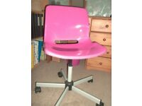 Ikea - Pink office desk chair or for gaming or young person's bedroom chair for homework etc