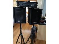 Kustom PA Amp Speakers and stands