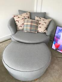 DFS Swivel chair and foot stool