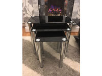 Black Glass nest of 3 tables Plus Black Glass coffee Table £55