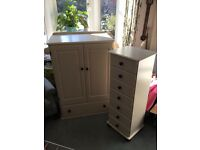 Hand paint (cream) wardrobe and tall chest of drawers