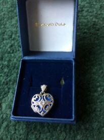 Silver and navy heart locket