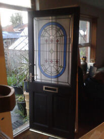"""6'6"""" x 2'9"""" Hard wood Front door with coloured glass and locks"""