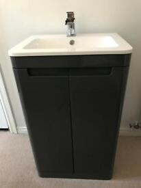 New HIB grey bathroom cabinet + basin