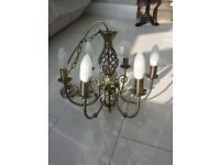 Two bronze effect chandolier ceiling lights