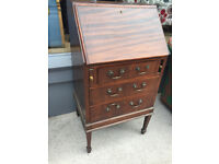 Mahogany Wooden Narrow Bureau , in good condition . Size W 21in D 17in H 40in Free Local Delivery