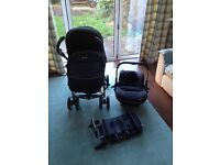 Silver Cross 3D carrycot, pushchair, car seat and isofix base