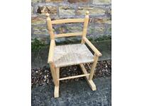 CHILDRENS ROCKING CHAIR, CHILDS VINTAGE LOOK PINE WOVEN WICKER SEAT XMAS GIFT