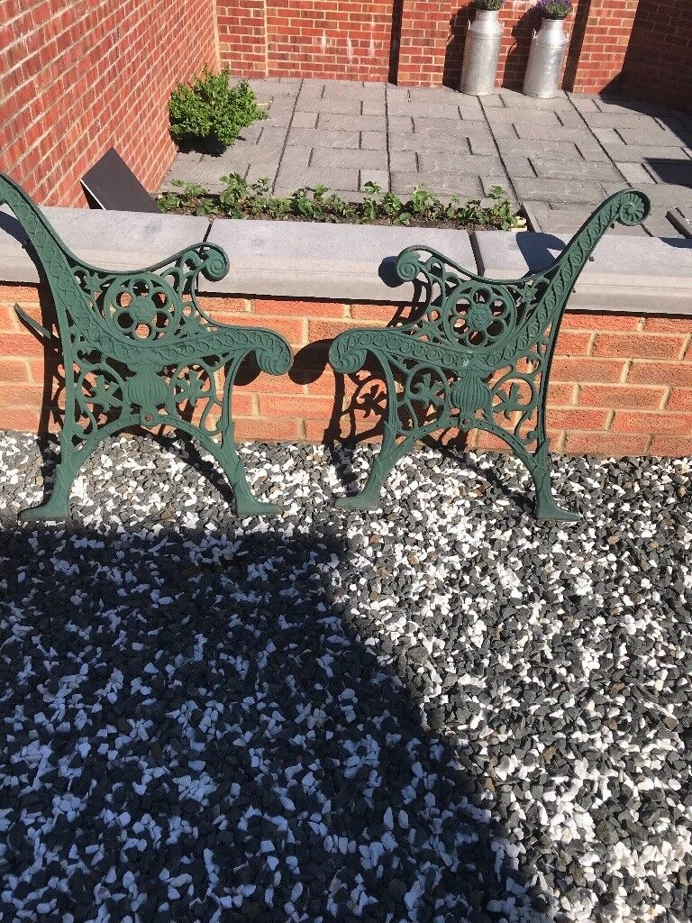 Vintage Cast Iron Bench Ends Lions Head Design In