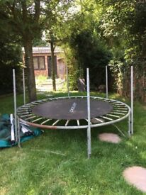 Small 6x6 trampoline Has all poles and side netting as well as base