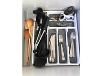 Cutlery SET, blue light kettle & toaster & microwave