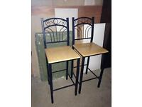 Pair of bar stools wooden and metal