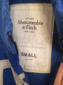Genuine Abercrombie & Fitch retro royal blue small mans hoodie