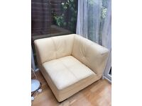 4 low pale yellow armchairs