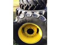 John Deere Tractor Wheels and Tyres New Condition 340 R24 420 R34