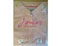 Joules pink striped shirt - size 8