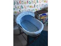 Clair de lune boys Moses basket with stand, sheets & mattress