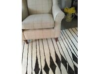 Wing chair with woollen upholstery