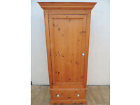 Pine wardrobe with drawer single door (Delivery)