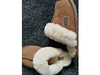 Sheepskin brown slippers size 3