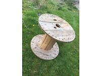 Wooden cable drum garden furniture