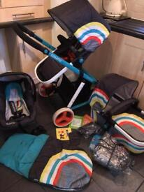 Cosatto Giggle Travel System NEW WAVE Pram Pushchair 🌈