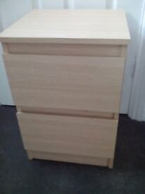 Modern beech Ikea 2 drawer chest of drawers. In good clean condition