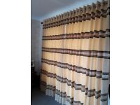 Fully lined ring top curtains with matching tie backs