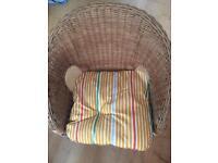 Kids wicker chair with cushion