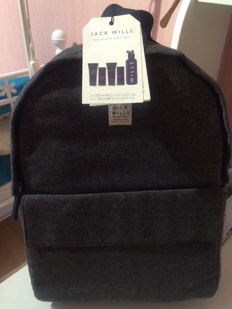 Brand New Jack Wills Backpack Gift Setin Bangor, County DownGumtree - • Unwanted gift • Jack Wills Backpack Contains Jack Wills Cavalry Twill Hair and Body Wash, Body Spray, Signature Hair and Body Wash,Body Spray and Flask • Costs £50.00 • Bag size 40cm x 30cm x 13cm