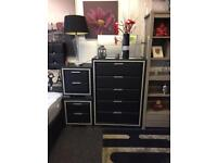 Black leather drawers with bedside cabinets £150 delivered