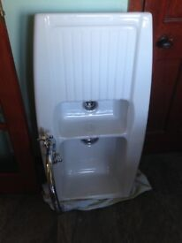 Ceramic Two Bowl Kitchen Sink and Mixer Tap