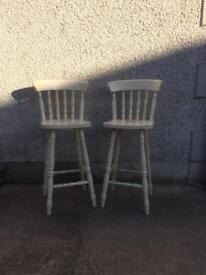 White wooden bar stools