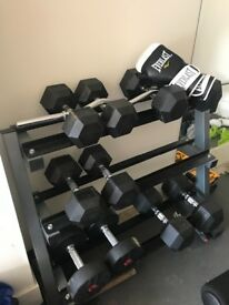 Dumbell weights and rack