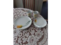 Melamine tulip design, 2 size plates, 4 each with 2 mugs