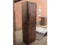 Vintage Industrial Shelved Metal Cupboard - workshop garage storage cabinet