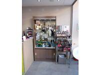 Hair / Beauty REM Lockable Retail Cabinet & Tokyo Wall Shelving