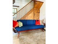 Stunning ERCOL Daybed - 3 or 4 Seater Sofa with Navy Abraham Moon Cushions, Mid Century Modern