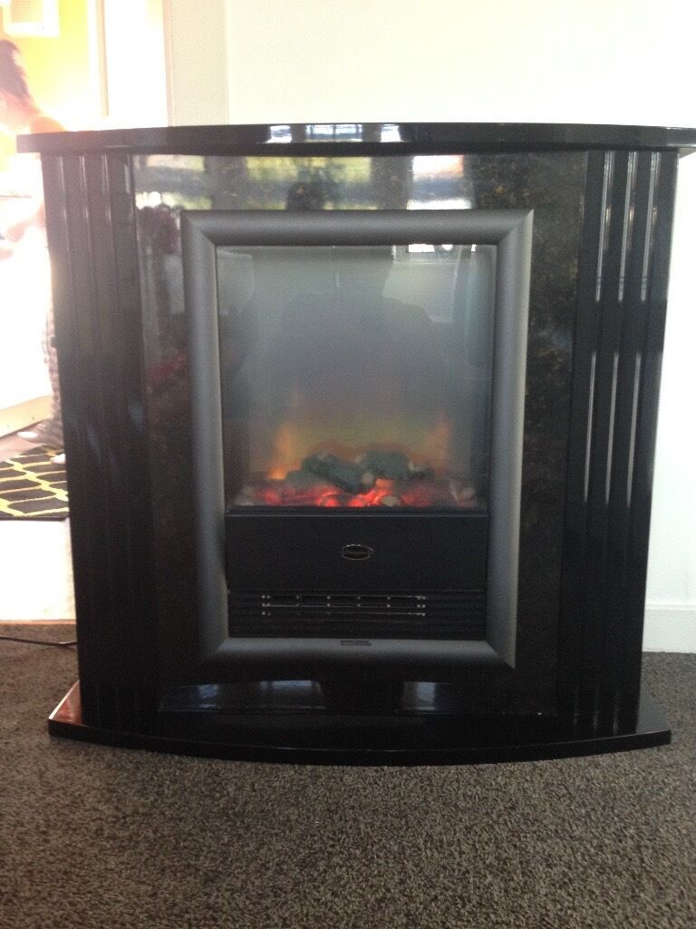 black high gloss designer free standing electric fire fireplace