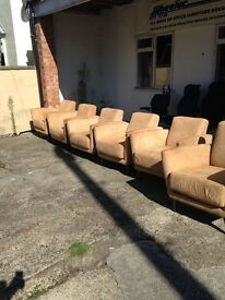 Six suede designer easy chairs