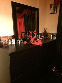 2 black wall drawer + black mirror
