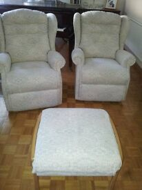 Pair of Sherborne Armchairs and Footstool