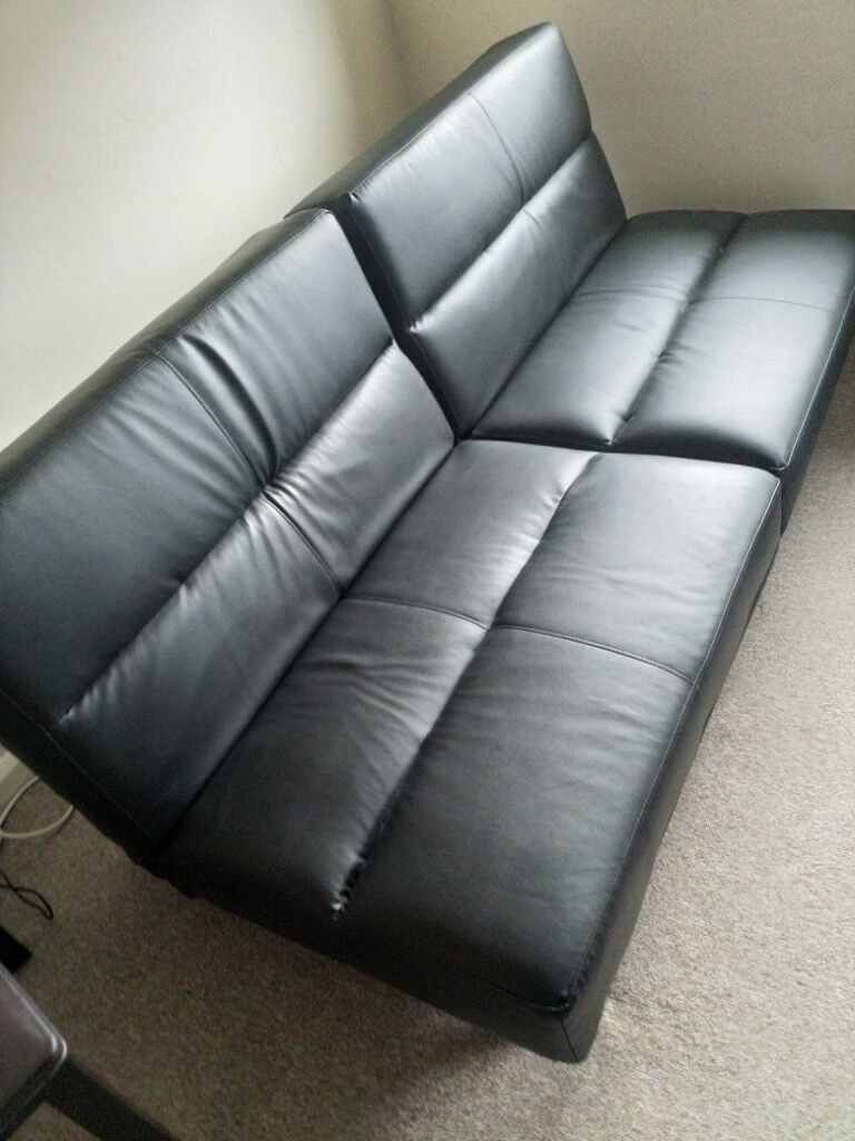 Futon Sofa Bed Faux Leather Like New Collection Only Offers Accepted