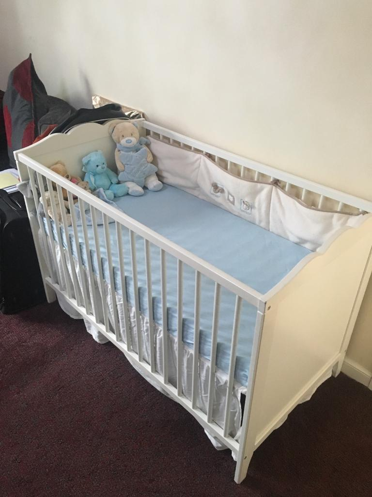 WHITE SOLID WOOD BABY COT & FOAM MATTRESS For SALE