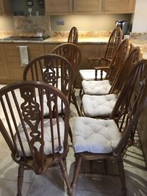 Dining chairs X 8. 2 carvers and 6 chairs. Good used condition